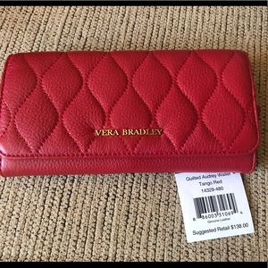 Vera Bradley Quilted Leather Audrey Wallet- RED